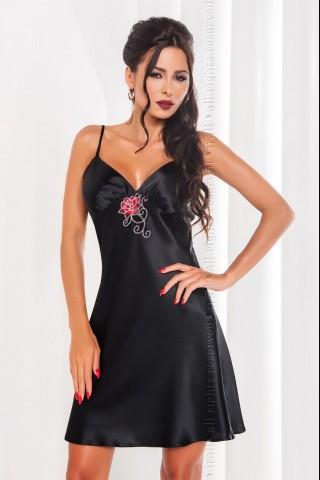 Секси черна сатенена нощница с цветна фигурална дантела на Irall - Dakota