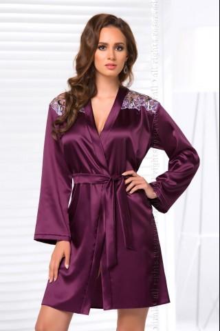 Секси сатенен комплект нощница и халат с фигурална дантела на Irall - Olga
