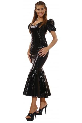 Шеметна дълга рокля от PVC Винил за специални поводи