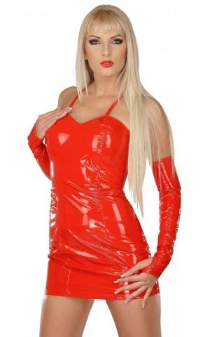 Секси рокличка със дълги ръкавици от PVC Винил