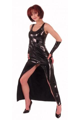 Комплект дълга рокля с ръкавици от PVC Винил