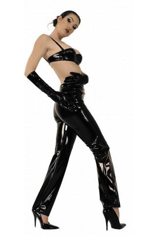 Комплект секси клин, разкриващ сутиен и ръкавици от Винил