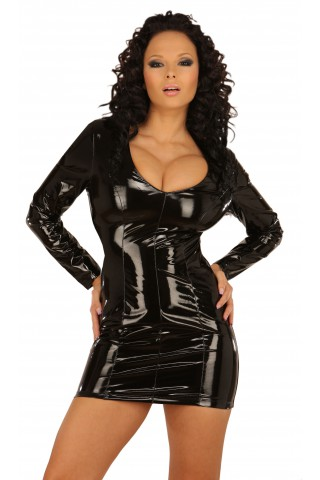 Секси и стилна рокля от PVC Винил със дълги ръкави