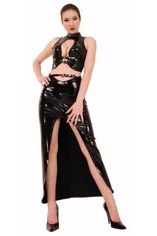Комплект дълга пола с коланче и бюстие от PVC Винил