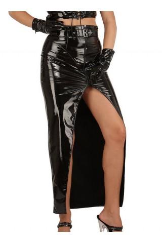 Дълга пола със колан и цял цип отпреде от PVC Винил
