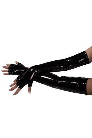 Супер дълги ръкавици от PVC Винил със цип и изрязани пръсти
