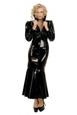 Зашеметяваща рокля с висока яка от PVC Винил
