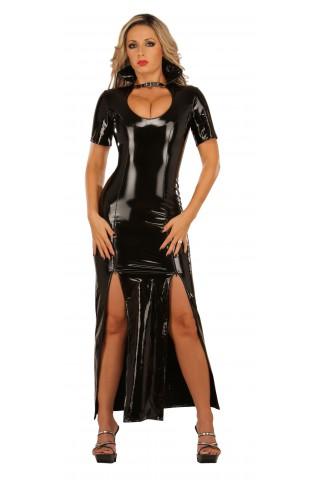 Невероятна дълга рокля от PVC Винил с двойна регулируема цепка отпреде