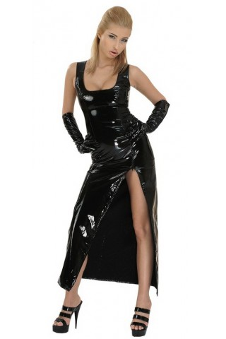 Дълга рокля от PVC Винил със широки презрамки