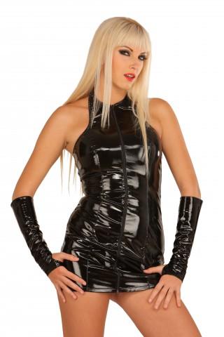 Къса рокличка от PVC Винил със частично гол гръб