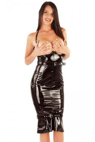 Секси разкриваща рокля от PVC Винил за строги господарки