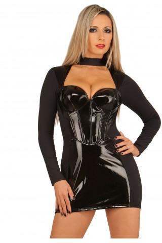 Невероятно секси рокля от ластична материя и PVC Винил