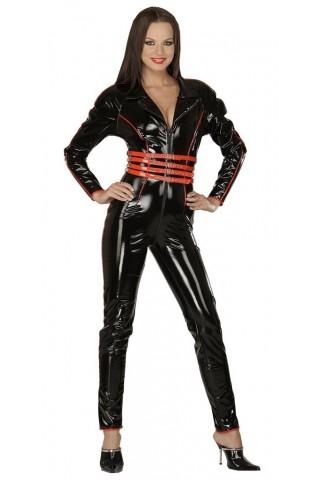 Секси черен гащеризон със контрастни ленти и колани от PVC Винил