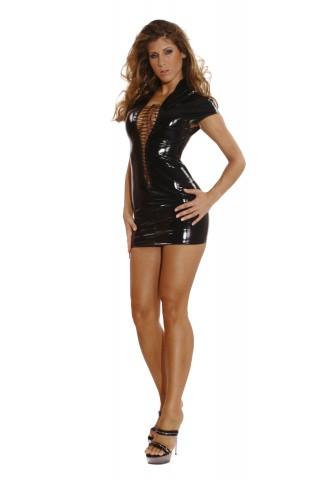 Секси къса рокля със вързанки отпреде от PVC Винил