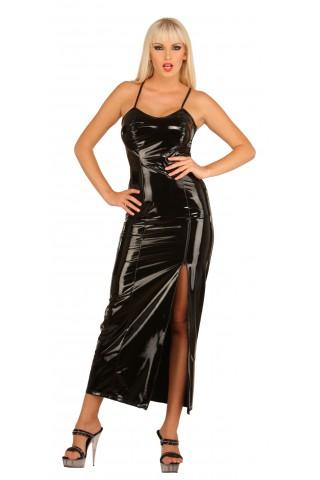 Дълга рокля от PVC Винил със мрежест гръб