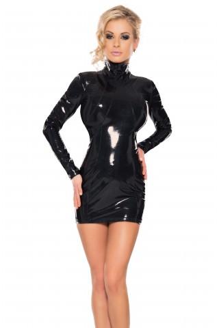 Силно вталена рокля от Датекс - Латекс със дълги ръкави и висока яка