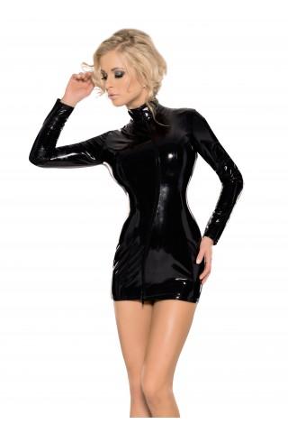 Неустоимо секси къса рокля с висока яка и дълги ръкави от Датекс - Латекс