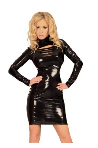 Секси рокля от Датекс - Латекс със дълги ръкави и висока яка