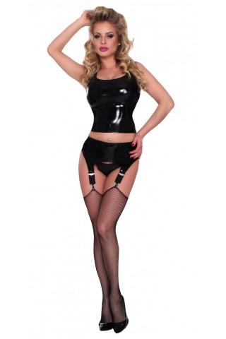 Секси комплект от бюстие без ръкави, жартиерен колан и прашки от Латекс - Датекс