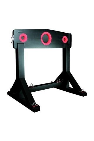 Дървена стойка за обездвижване и връзване с кожени елементи и метални пръстени