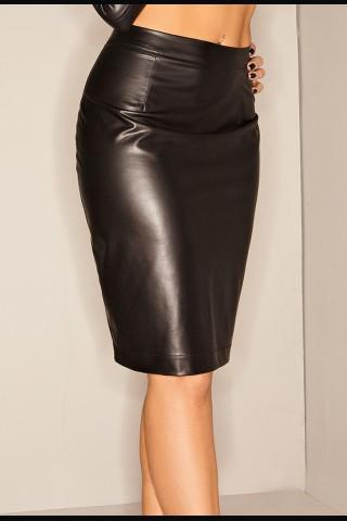 Елегантна и секси черна лъскава пола на Noir Handmade