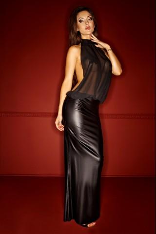 Изключителна дълга рокля със гол гръб и шифон на гърдите на Noir Handmade