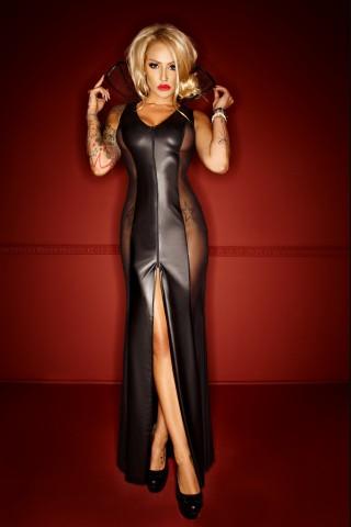 Много секси дълга рокля с екстравагантна яка на Noir Handmade