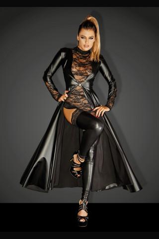 Секси дълга отворена рокля със дантела на ръкавите на Noir Handmade