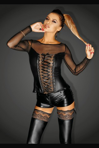 Секси къса блузка със дълги ръкави и връзки отпред на Noir Handmade