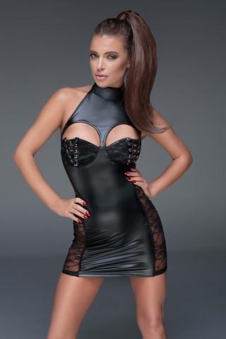 Секси кожена рокличка частично разкриваща гърдите на Noir Handmade