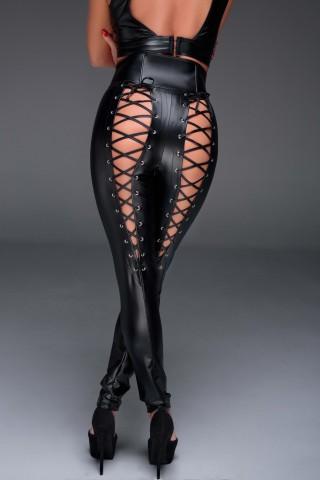 Нестандартен кожен панталон с връзки отзад и еротичен цип между краката на Noir Handmade