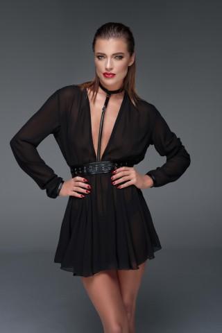 Впечатляваща рокля от прозрачен тюл и кожен колан на Noir Handmade