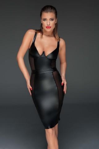 Секси тясна кожена рокля с разкриващо гърдите деколте на Noir Handmade