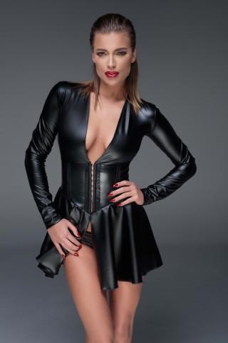 Много секси рокличка от изкуствена кожа и с дълги ръкави на Noir Handmade