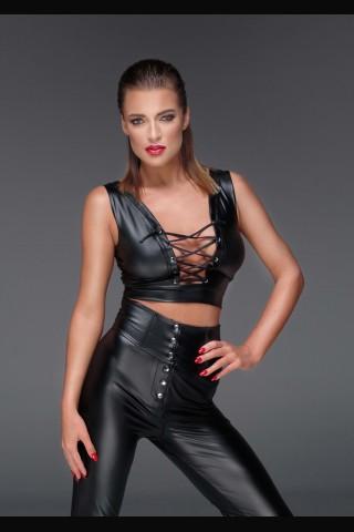 Невероятно секси бюстие с дълбоко деколте от изкуствена кожа на Noir Handmade