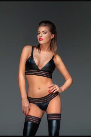 Секси сутиен тип бюстие от изкуствена кожа на Noir Handmade