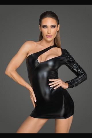 Секси асимитрична рокля от Еко кожа на Noir Handmade