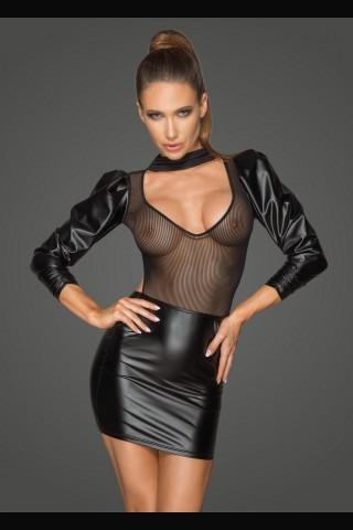 Секси разкриваща рокля от Еко кожа и тюл на Noir Handmade