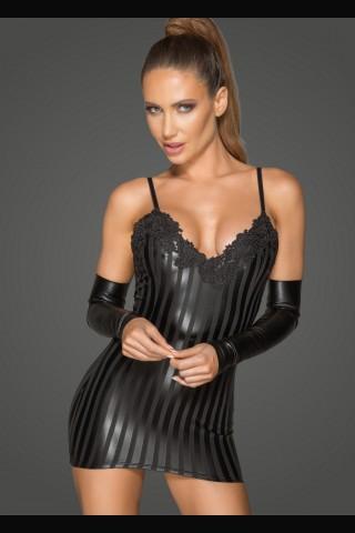 Секси рокля от Еко кожа и дантела на Noir Handmade