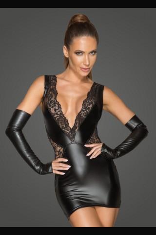 Секси рокля от Еко кожа и дантеа на Noir Handmade