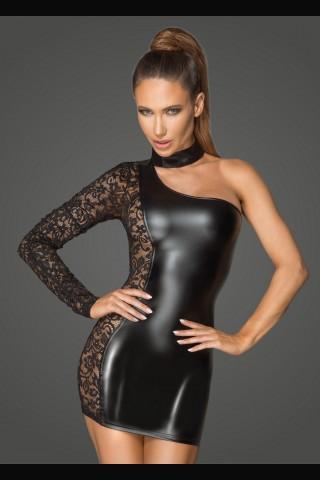 Секси асиметрична рокля от Еко кожа и дантела на Noir Handmade