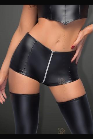 Секси кожени шортички с висока талия и сребрист цип на Noir Handmade