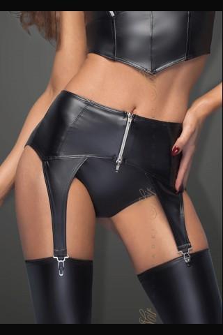 Секси кожен жартиерен колан със сребрист цип отпред на Noir Handmade
