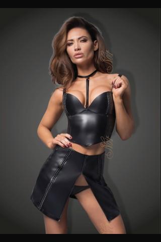 Секси кожен комплект бюстие и пола с висока талия декорирани с лъскави ивици на Noir Handmade