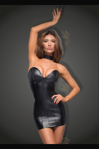 Секси предизвикателна кожена рокля с нашийник за врата на Noir Handmade
