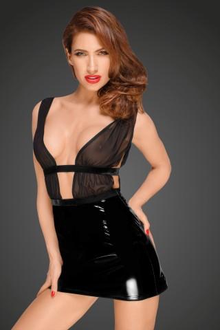 Секси къса рокличка разкриваща гърдите от PVC Винил и тюл на Noir Handmade