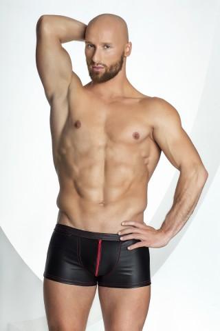 Секси мъжки кожени боксерки с червен цип на Noir Handmade