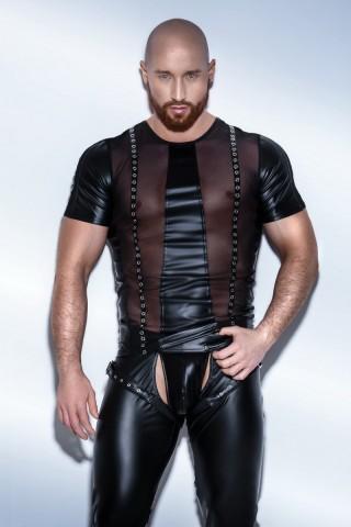 Секси мъжка кожена риза с къси ръкави на Noir Handmade