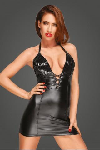 Секси къса рокля от Еко кожа и Винил на Noir Handmade