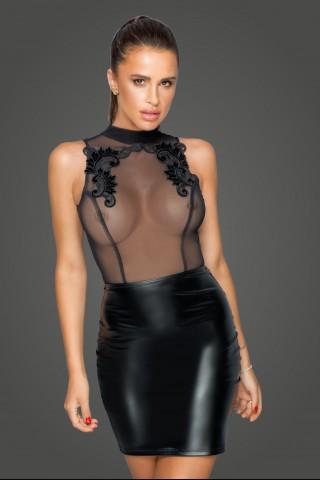 Секси разкриваща рокля от Еко кожа и прозрачен тюл на Noir Handmade